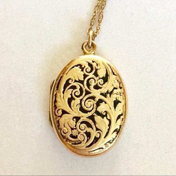 JMF Jewelry - Vtg Art Nouveau JMF Gold Filled Locket & Necklace
